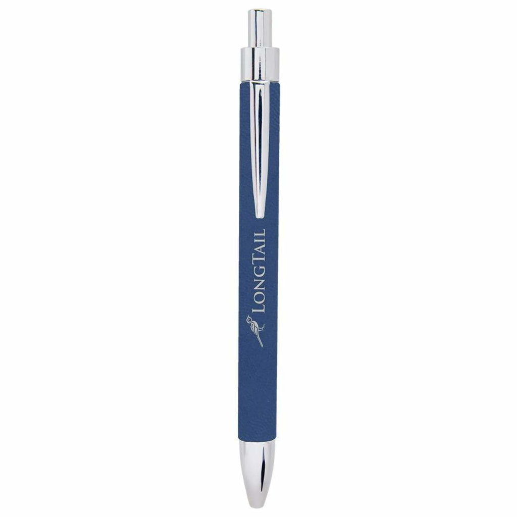 Vegan Leather Pen - Blue | Silver - Office Gifts
