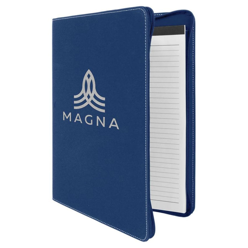 Vegan Leather Portfolio with Zipper - Blue | Silver - Office Gifts