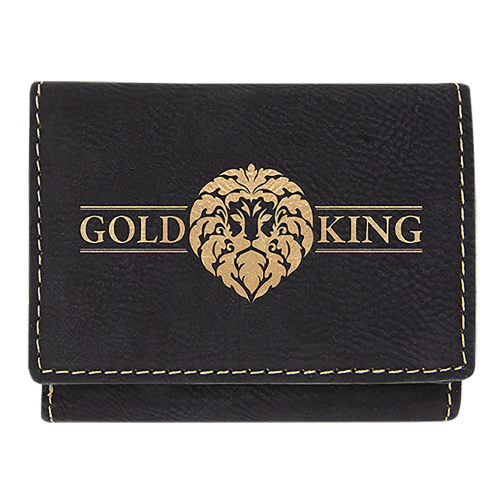 Vegan Leather Trifold Wallet - Black | Gold - Bags & Apparel