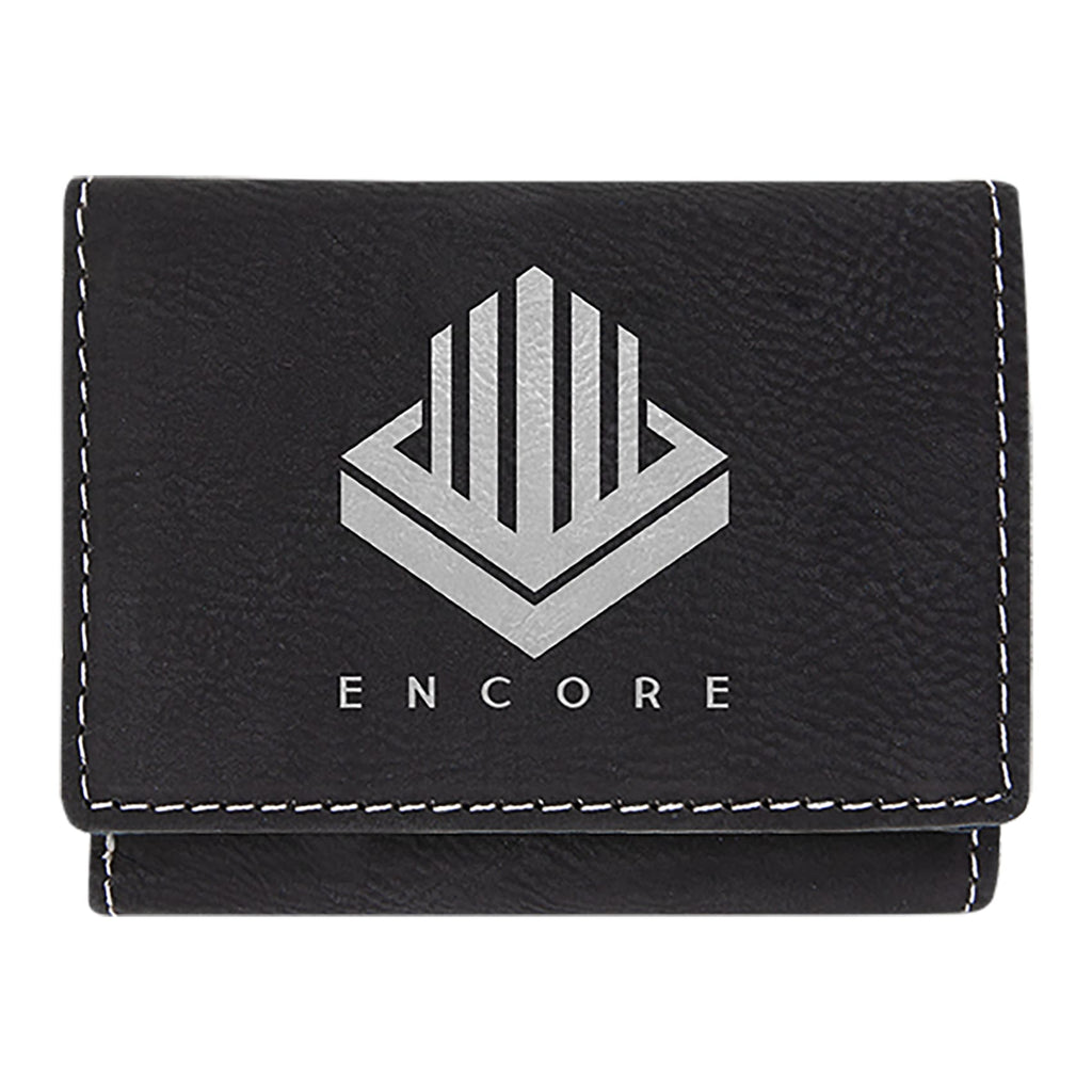 Vegan Leather Trifold Wallet - Black | Silver - Bags & Apparel