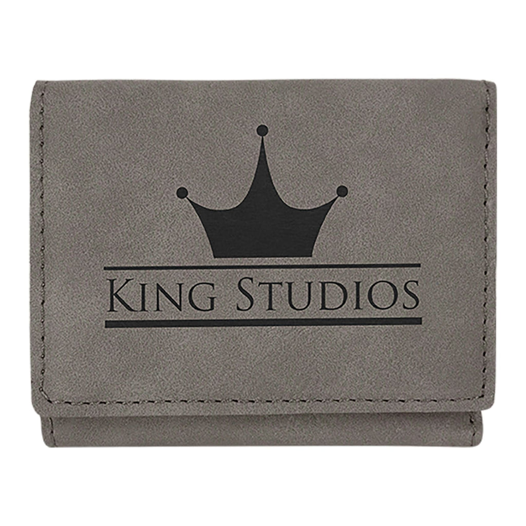 Vegan Leather Trifold Wallet - Gray - Bags & Apparel