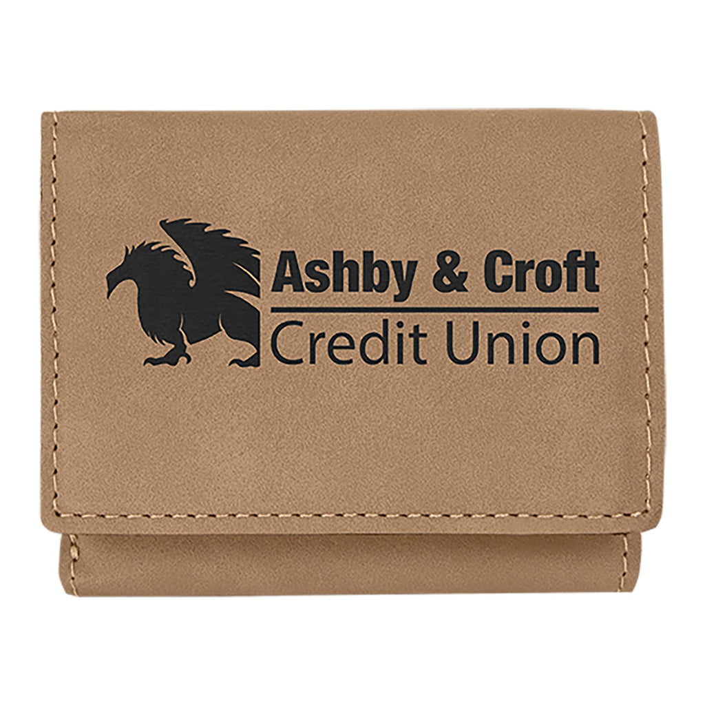 Vegan Leather Trifold Wallet - Light Brown - Bags & Apparel