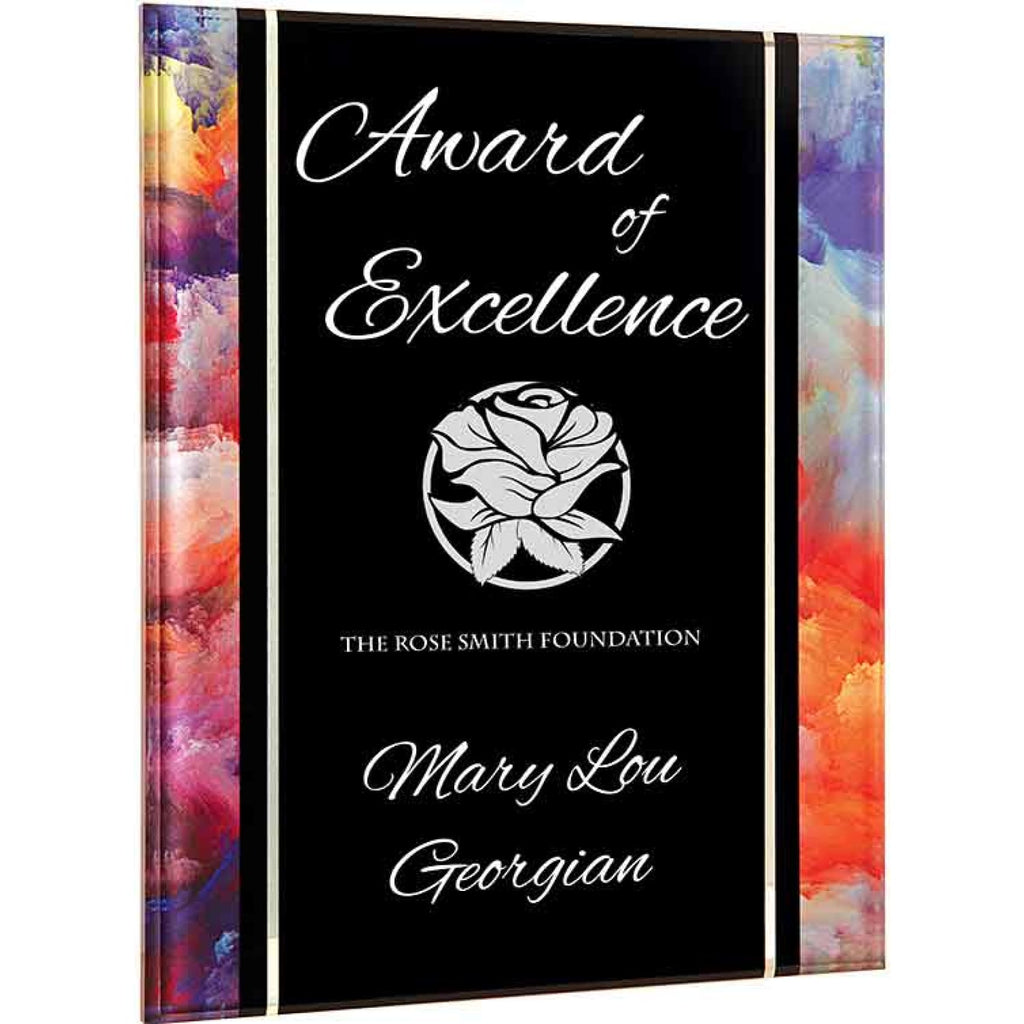 Watercolor Acrylic with Black Base - 8x10 Plaque - Acrylic Awards