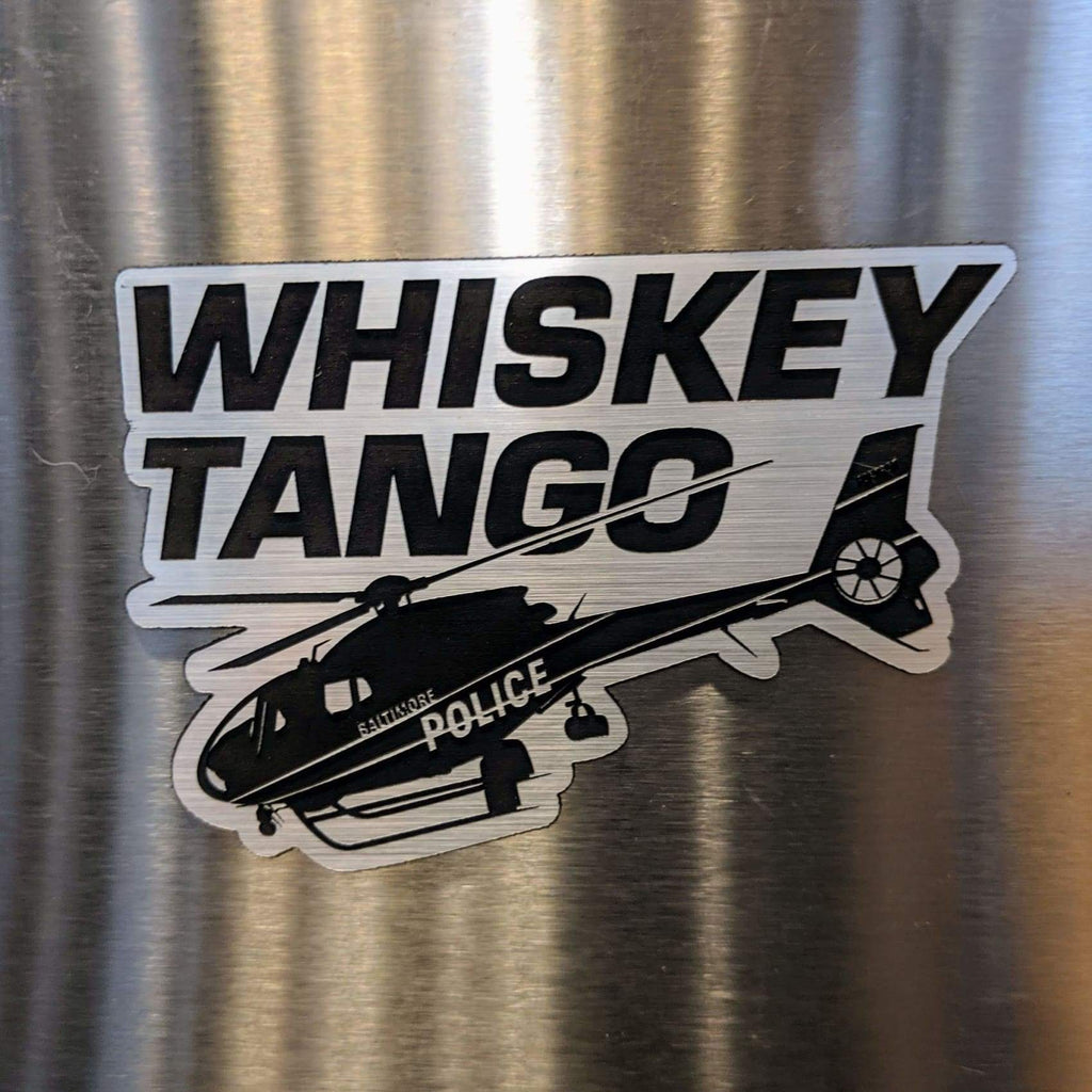 Whiskey Tango (Foxtrot) Baltimore Magnet - Silver - Chase Street Originals