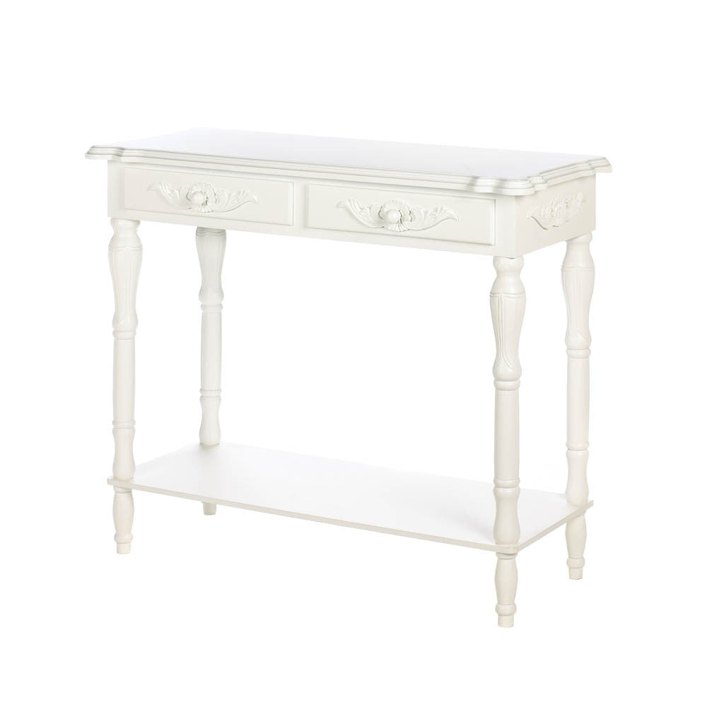 Carved White Hallway Table