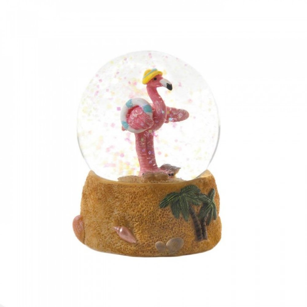 Sun Hat Flamingo Snow Globe