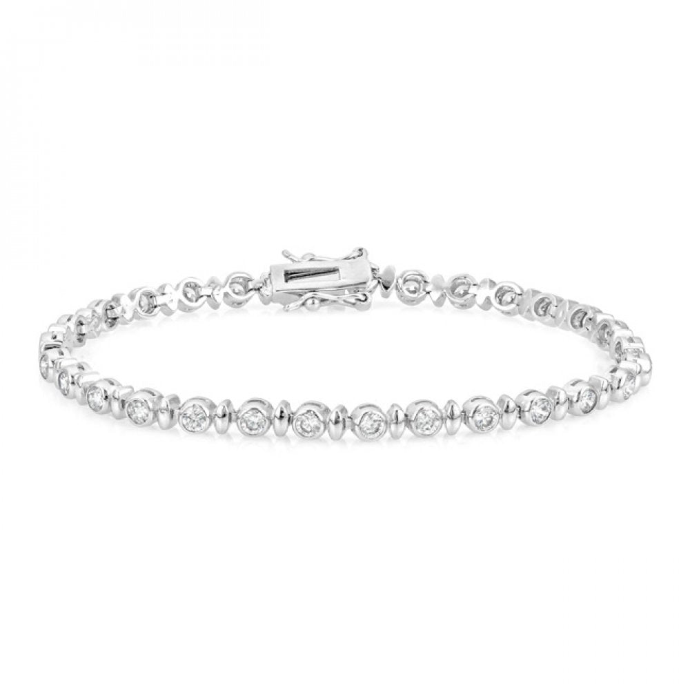 Alternating Bezel Cubic Zirconia Bracelet