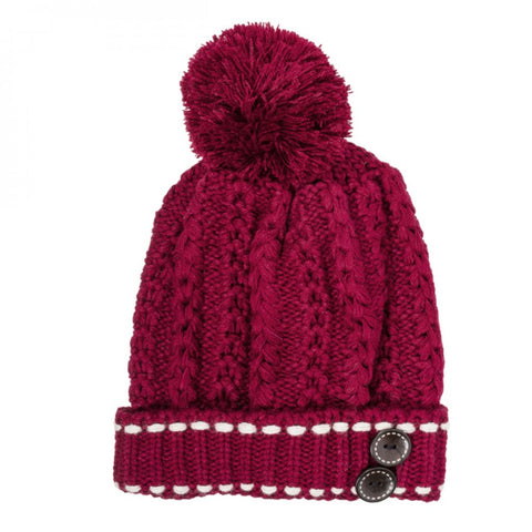 Burgundy Michelle Knitted White Stitch Beanie