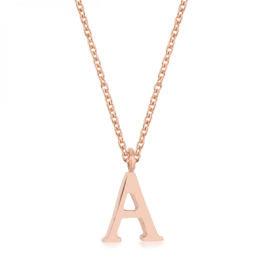 Elaina Rose Gold Stainless Steel A Initial Necklace