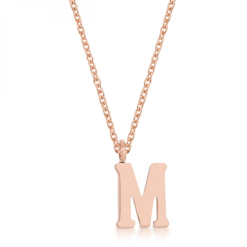 Elaina Rose Gold Stainless Steel M Initial Necklace