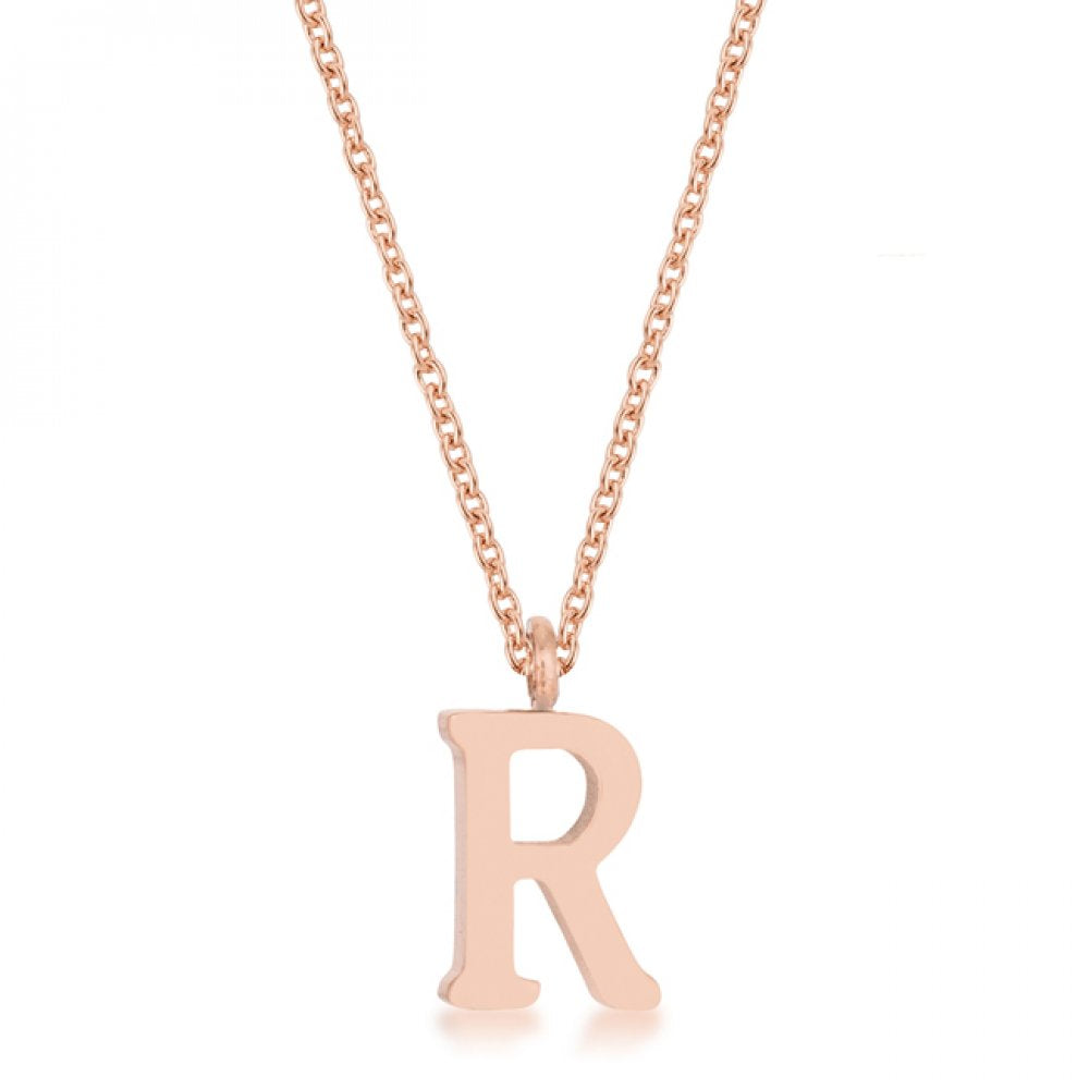 Elaina Rose Gold Stainless Steel R Initial Necklace