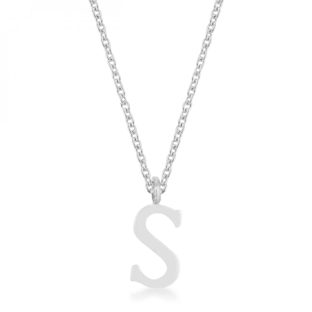 Elaina Rhodium Stainless Steel S Initial Necklace