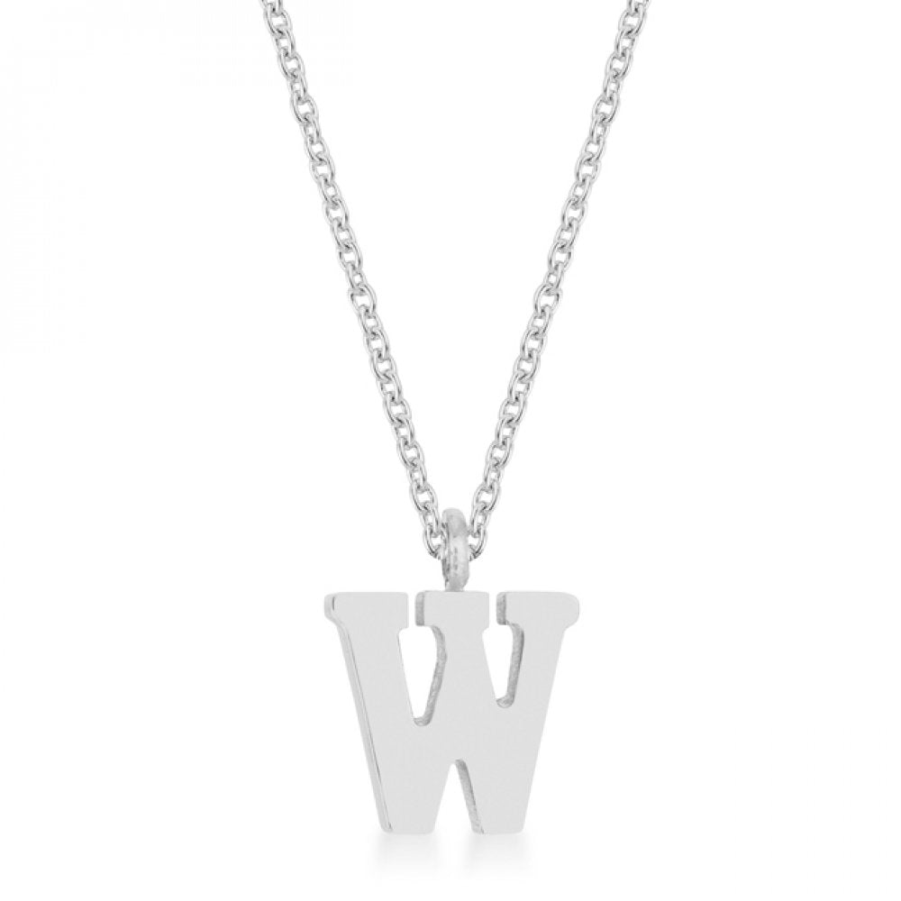 Elaina Rhodium Stainless Steel W Initial Necklace
