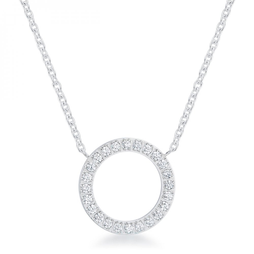 Clara 0.3ct Cz Rhodium Stainless Steel Circle Necklace
