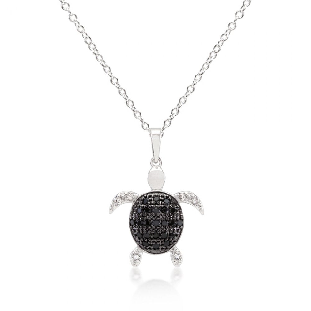 Black And White Cz Turtle Pendant