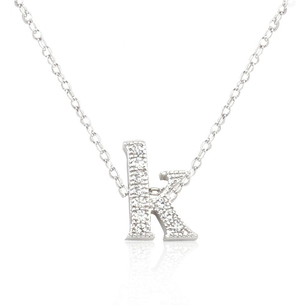 Micro-pave Initial K Pendant