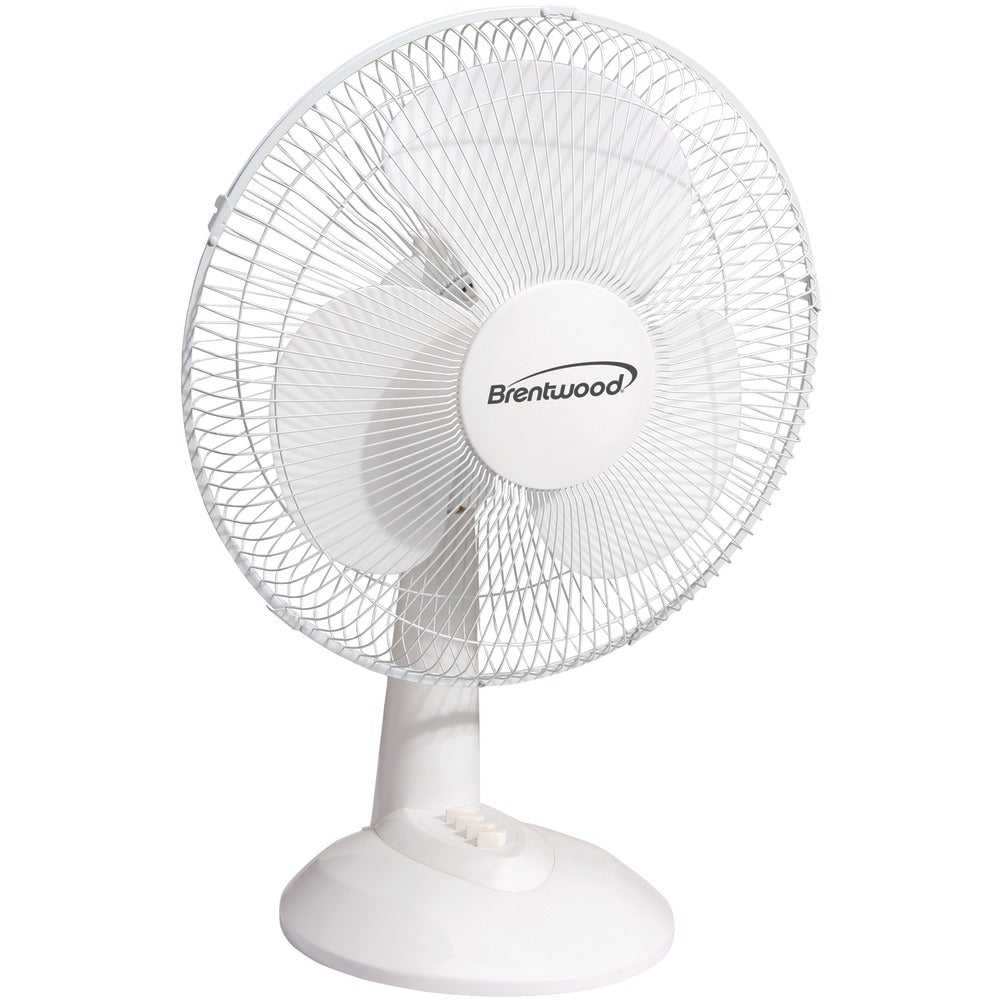 "Brentwood Koolzone 16"" Oscillating Desk Fan (white)"
