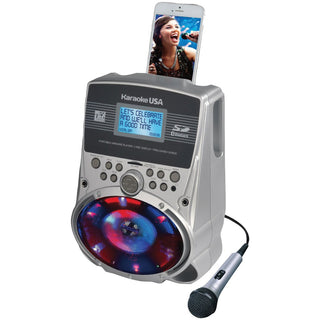 "Karaoke Usa Portable Karaoke Mp3 Lyric Player With 3.2"" Lyric Screen Sd Card Slot & Led Sync Lights"