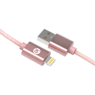 Iessentials Charge & Sync Braided Lightning To Usb Cable 10ft (rose Gold)