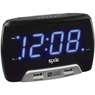 Sxe Digital Alarm Clock With 2 Usb Fast-charging Ports