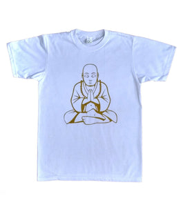 Women's Golden Buddha Pose White Yoga T-Shirt Cool Exercise Meditation UK Stock!