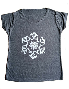 Women's Grey Om Lotus Flower Aum Yoga T-Shirt Cool Exercise Meditation UK Stock!