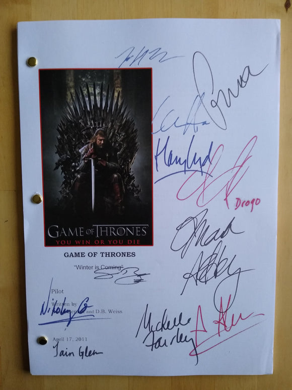 Game of Thrones  Film Script with Reprinted Autographs