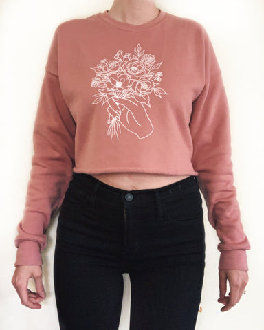 Floral Crop Crew Neck Sweater