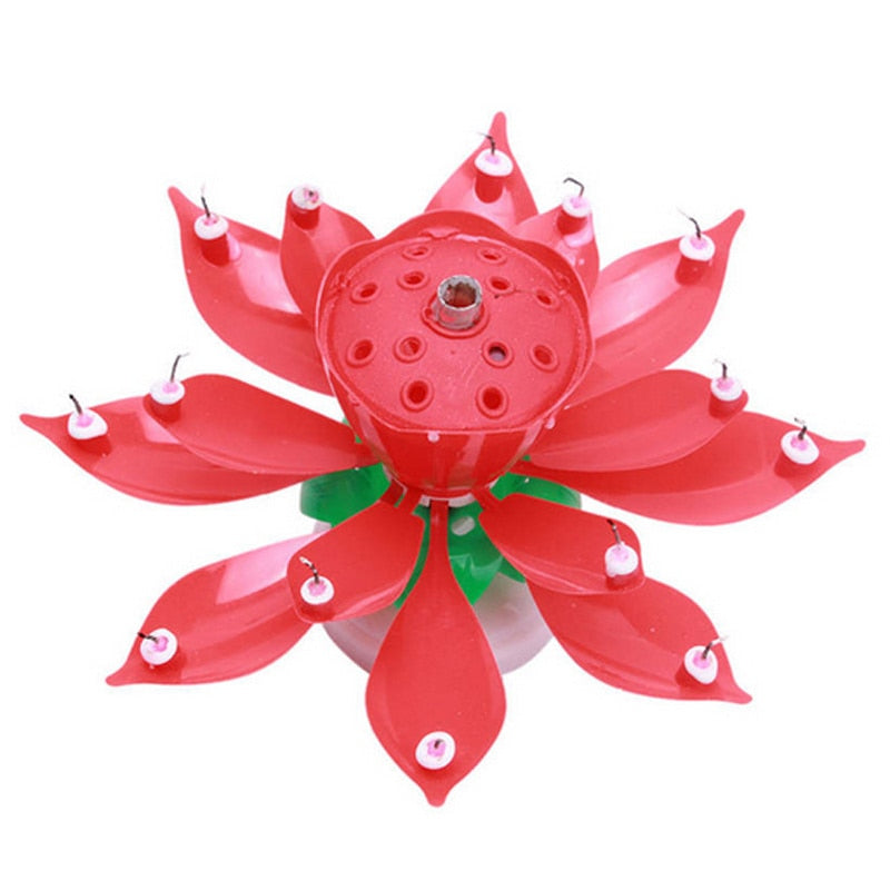 Birthday Musical Rotating Lotus Flower Cake Candle