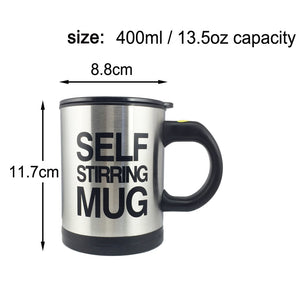 Creative Coffee Mug 400ml /13.5oz Stainless Steel Surface Cup with Lid Lazy Automatic Self Stirring Mug for Travel Office Home