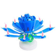 Load image into Gallery viewer, Birthday Musical Rotating Lotus Flower Cake Candle