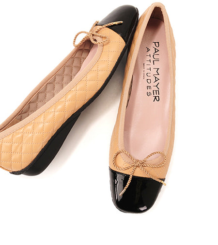 Shop the classic and timeless beige and black ballet flat by Paul Mayer