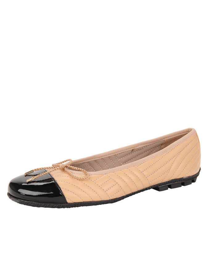 Womens Beige/Black Crush Quilted Leather Ballet Flat