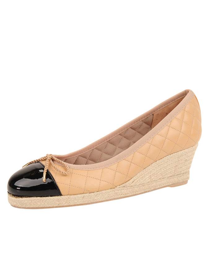 Womens Beige/Black Just Quilted Wedge Espadrille