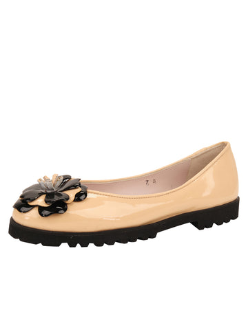 Womens Beige/Black Brio Lug Sole Flat
