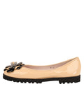 Womens Beige/Black Brio Lug Sole Flat 6
