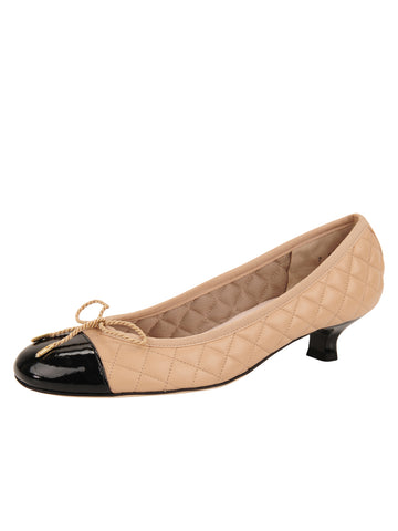 Womens Beige/Black Titou Kitten Heel
