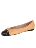 Womens Black/Beige Best Quilted Leather Ballet Flat