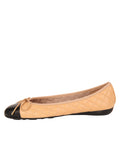 Womens Black/Beige Best Quilted Leather Ballet Flat 6