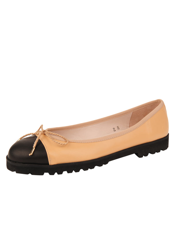Womens Black/Beige Bravo Lug Sole Ballet