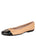 Womens Black/Beige Cozy Quilted Leather Ballet Flat