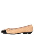 Womens Black/Beige Cozy Quilted Leather Ballet Flat 4