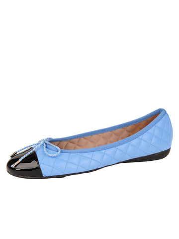 Womens Black/Blue Best Quilted Leather Ballet Flat