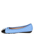 Womens Black/Blue Best Quilted Leather Ballet Flat 6