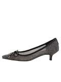 Womens Black Mesh Shimmer Royal Pointed Toe Kitten Heel 6