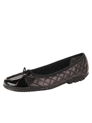 Womens Black Pat/Black Leather Cozy Quilted Leather Ballet Flat
