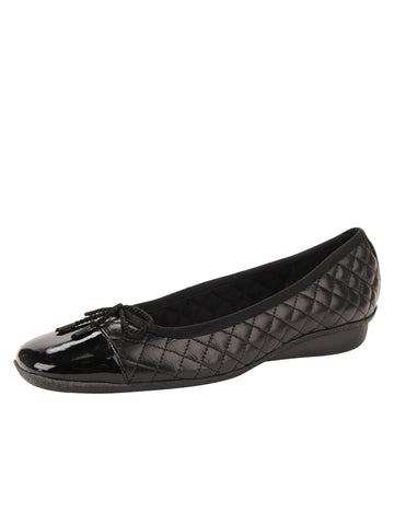 Womens Black Pat/Black Leather Galant Square Toe Ballet