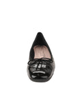 Womens Black Pat/Black Leather Galant Square Toe Ballet 4