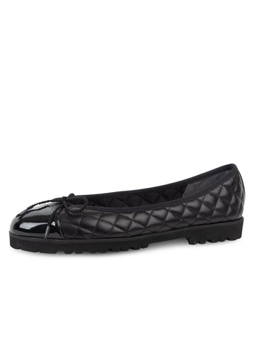 Womens Black Patent/Black Leather Best Lug Sole Ballet