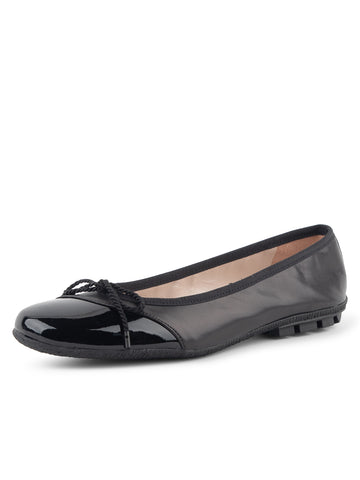 Womens Black Patent/Black Nappa Crave Leather Ballet Flat